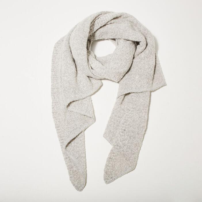 Écharpe maille duveteuse gris clair femme