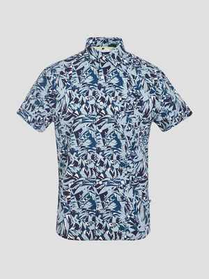 Chemise manches courtes bleu turquoise homme