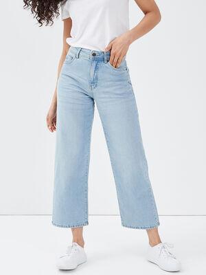 Jeans wide leg denim bleach femme