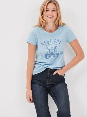 T shirt manche courtes bleu ciel femme