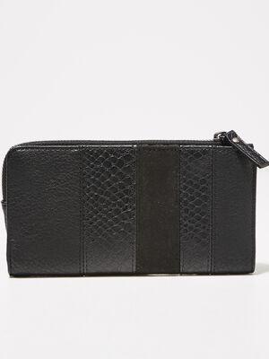 Portefeuille texture noir femme