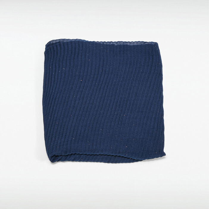 Foulard plissé bleu foncé femme