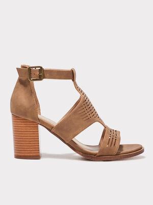 Sandales a talons perforees marron femme