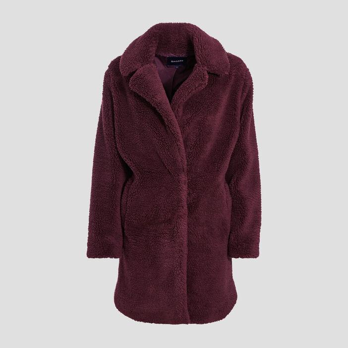 Manteau droit boutonné prune femme