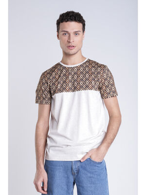 T shirt manches imprimees beige homme