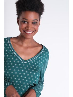 T shirt Instinct col en V vert canard femme