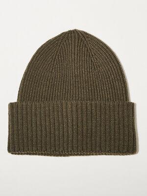 Bonnet tricote vert kaki homme