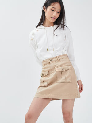 Jupe droite avec poches beige femme