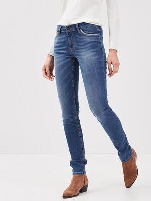 Jeans slim details taille denim stone femme