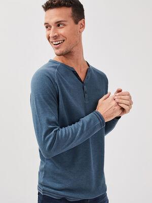 T shirt Instinct col tunisien bleu gris homme