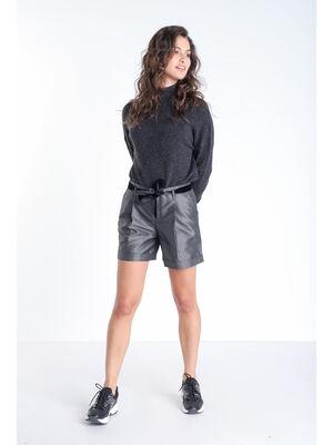 Short droit a ceinture gris fonce femme
