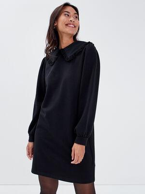 Robe droite avec col claudine noir femme
