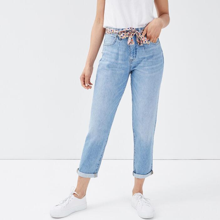 Jeans mom ceinture foulard denim bleach femme