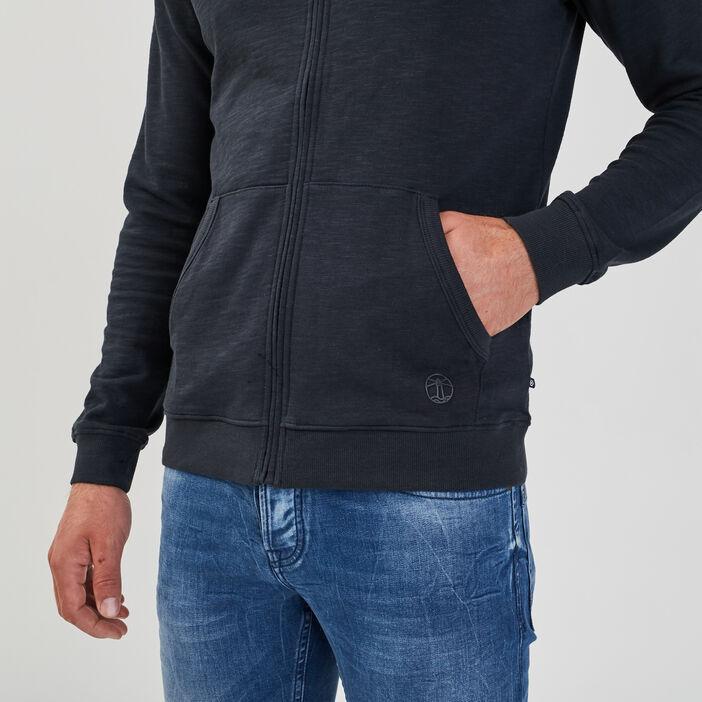 Sweat manches longues zippé bleu marine homme
