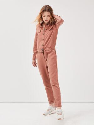 Combinaison pantalon boutonnee vieux rose femme
