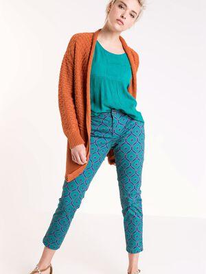 pantalon chino femme motif graphique bleu canard