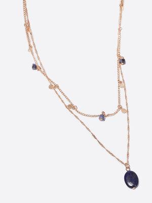Collier 2 rangs avec pierres couleur or femme