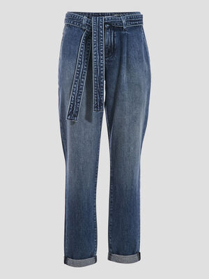 Jeans mom ceinture denim stone femme