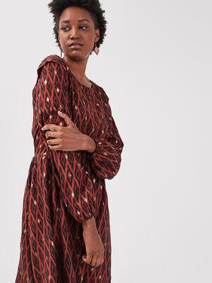 Robe evasee manches bouffantes noir femme