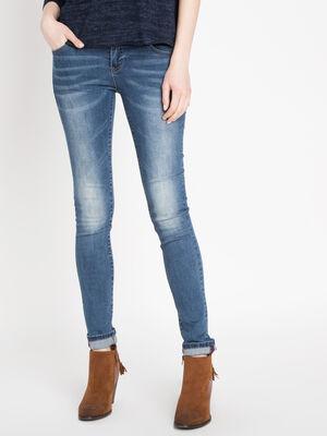 Jeans slim ceinture envers denim stone femme