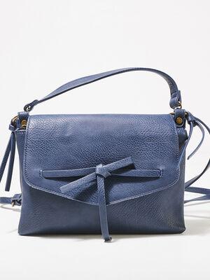 Sac besace detail noeud bleu fonce femme