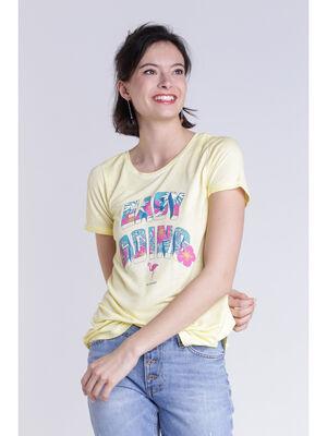 T shirt message jaune femme
