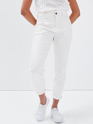 Pantalon mom taille haute denim blanc femme