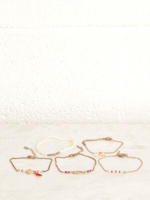 Lot 5 bracelets rouge femme