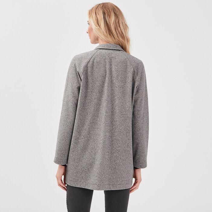 Manteau ample boutonné gris foncé femme