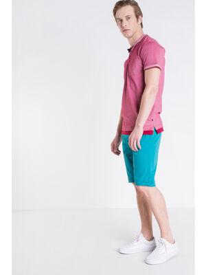 Bermuda chino droit coton vert turquoise homme