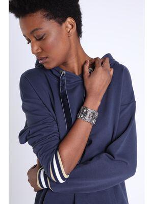 Bracelet manchette couleur argent femme