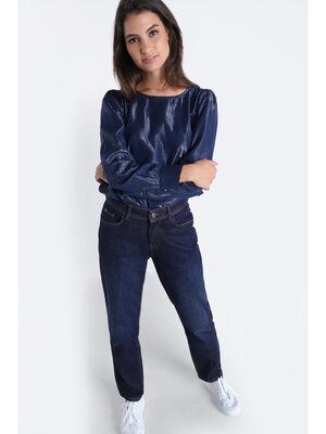 Jeans boyfriend a surpiqures denim brut femme