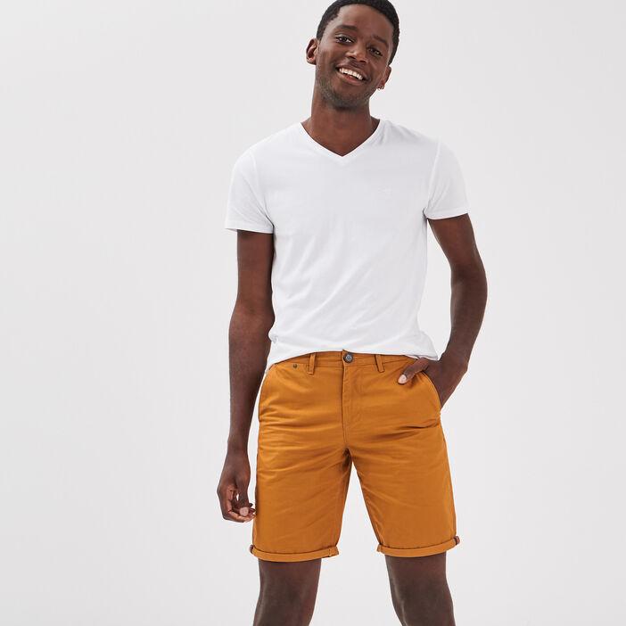 Bermuda droit éco-responsable jaune moutarde homme