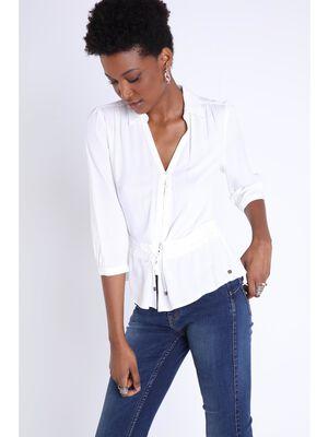 Chemise manches 34 a cordons blanc femme