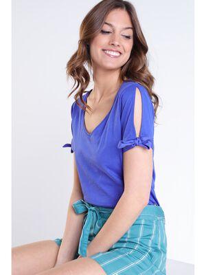 Tshirt imprime bleu violet femme