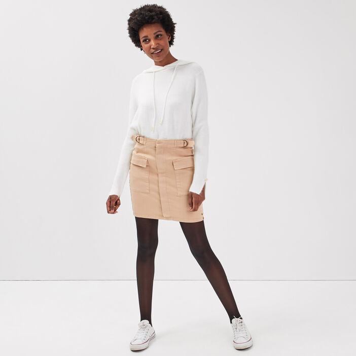 Jupe droite avec pattes beige femme