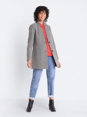 Manteau droit col crante noir femme