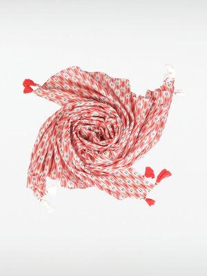 Foulard avec pompons rouge femme