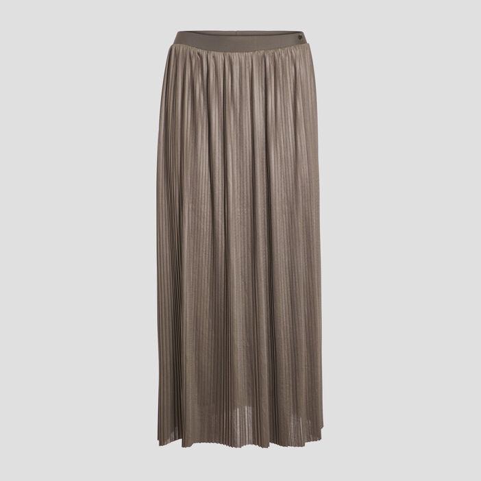 Jupe longue évasée plissée vert kaki femme