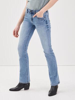 Jean bootcut en matiere recyclee denim used femme