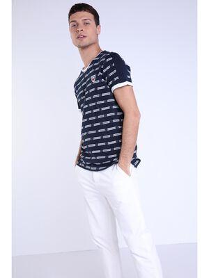 T shirt print bleu fonce homme
