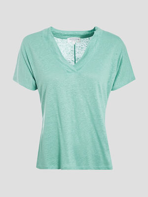 T shirt eco responsable vert menthe femme
