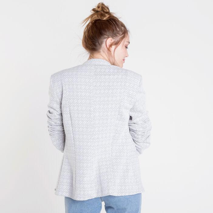 Veste droite blazer maille blanc femme