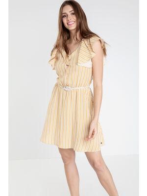 Robe courte evasee motif jaune femme