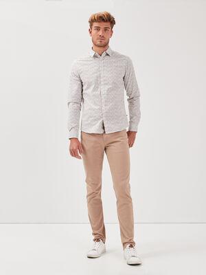 Pantalon slim 5 poches marron homme