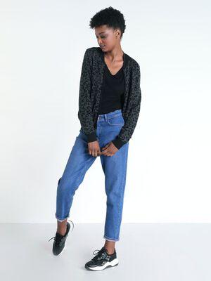 Gilet manches longues zippe gris fonce femme