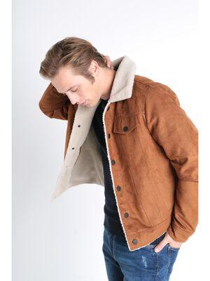 Veste droite effet suedine camel homme