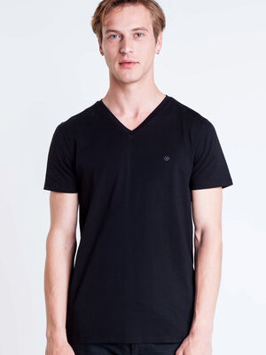 T shirt col V Instinct noir homme