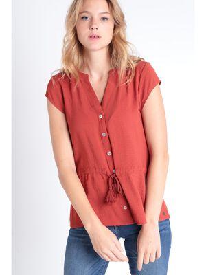 Chemise manches courtes orange fonce femme