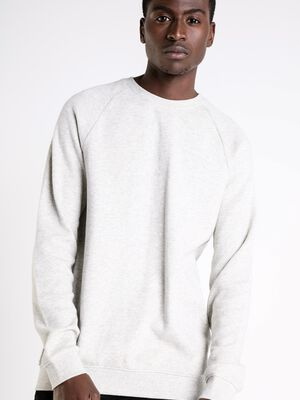 sweat col rond homme maille chinee ecru